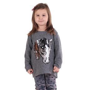 Dívčí svetr s měnícím obrázkem Pedro sv. šedý