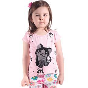 Růžové přeměňovací dětské tričko Cat
