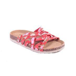 Květované páskové pantofle Silva červené