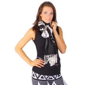 Černý široký šátek York s třásněmi C2