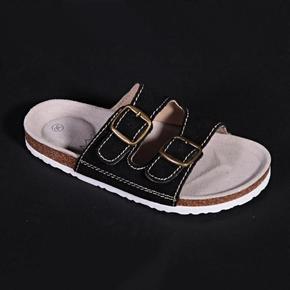 Páskové korkové pantofle Tana černé