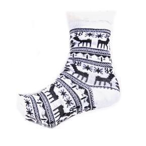 Zimní ponožky Sob s norským vzorem bílé