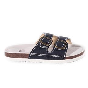 Páskové korkové pantofle Simba tmavě modré