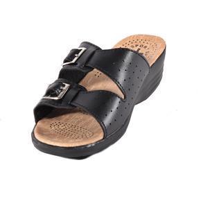 Dámské černé páskové pantofle Monic