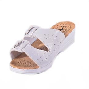 Dámské bílé páskové pantofle Monic