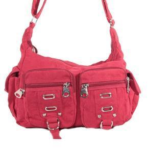 Červená dámská látková kabelka Kvido 1G