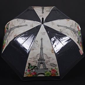 Automatický průhledný dámský deštník Zoja černý