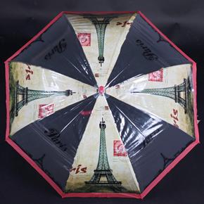 Automatický průhledný dámský deštník Dean červený
