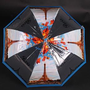 Automatický průhledný dámský deštník Dean modrý