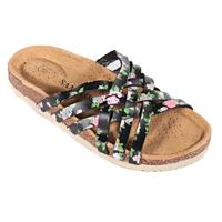 Květované páskové pantofle Silva černé