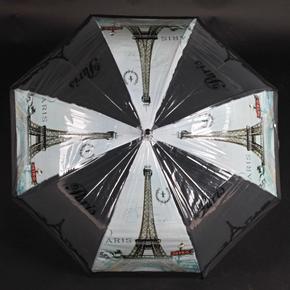 Automatický průhledný dámský deštník Dean černý