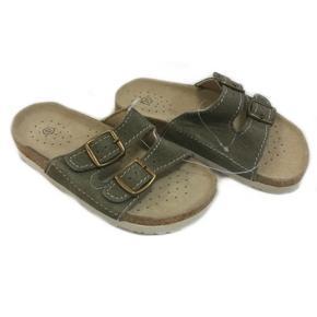 Dětské korkové pantofle Blanka khaki - 31