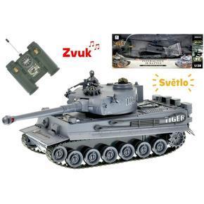 R/C šedý tank 1:28 se zvukem a světlem 26cm Henk