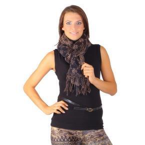 Stylový zimní šátek Valery hnědý E4