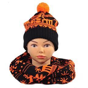 Oranžový zimní komplet čepice a šála Veronika