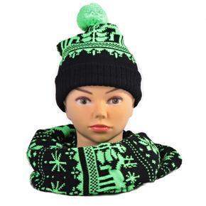 Zelený zimní komplet čepice a šála Veronika
