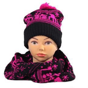 Růžový zimní komplet čepice a šála Veronika