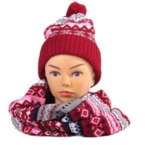 Červený zimní komplet čepice a šála René norský vzor
