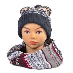 Šedý zimní komplet čepice a šála René norský vzor