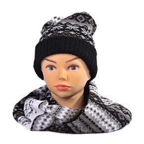 Černý zimní komplet čepice a šála René norský vzor