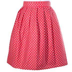 Puntikatá červená zavinovací sukně Merisa
