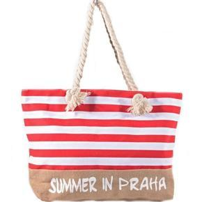 Plažová velká kabelka Pruhy čevená