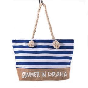 Plažová velká kabelka Pruhy modrá