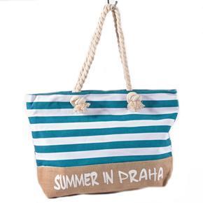 Plažová velká kabelka Pruhy tyrkysová