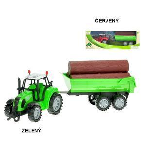 Traktor s vlekem a dřevem 34cm Balu