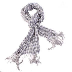 Šedý šátek Lott s třásněmi D7