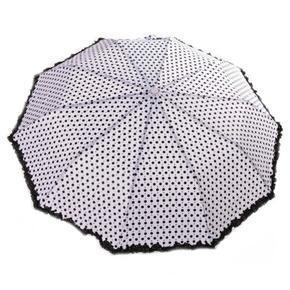 Skládací puntíkatý deštník Retro bílý