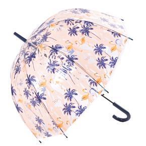 Průhledný dámský deštník Plameňák oranžový