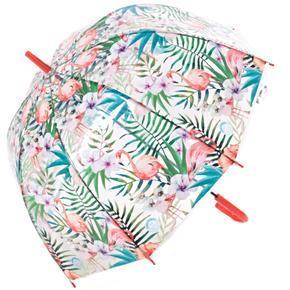 Průhledný dámský deštník Plameňák červený