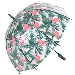 Průhledný dámský deštník Plameňák zelený