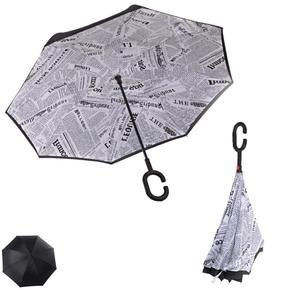 Obrácený deštník s novinovým potiskem Etna