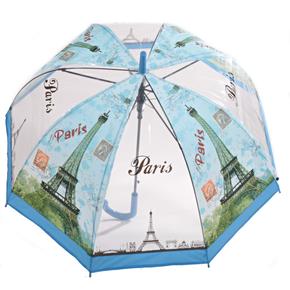 Průhledný dámský deštník Dean světle modrý