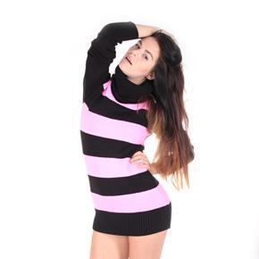Luxusní růžový pulovr Tereza s rolákem