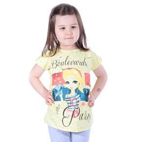 Žluté dívčí tričko s krátkým rukávem Olla