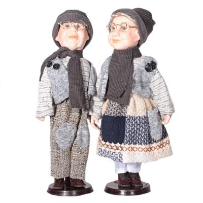 DOLL set Samira porcelánové panenky děda s babičkou 40 cm