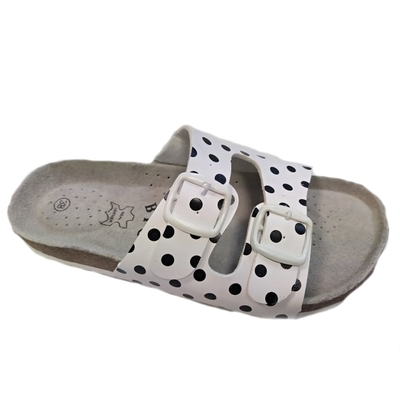 Retro dámské pantofle Leny bíločerné