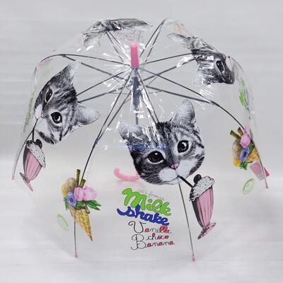 Průhledný holový deštník Mourek růžový - 1