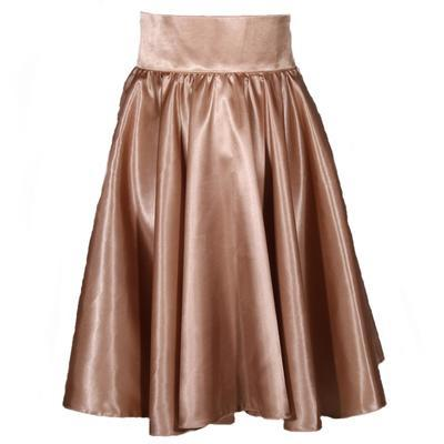 Hnědá saténová sukně s pevným pasem Kimberly - 1