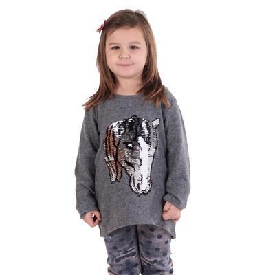 Dívčí svetr s měnícím obrázkem Pedro sv. šedý - 1