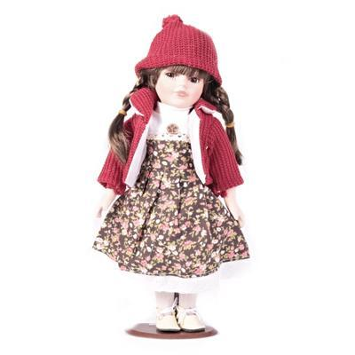 DOLL porcelánová panenka Dominika 30 cm hnědé oči, hnědé oči