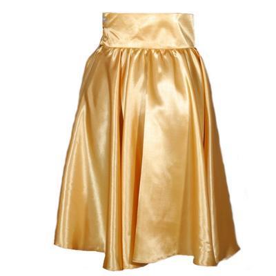 Zlatá saténová sukně s pevným pasem Kimberly - 1