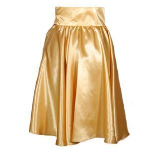 Zlatá saténová sukně s pevným pasem Kimberly - 1/2