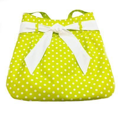 Zelená plátěná kabelka Viktorie s puntíky