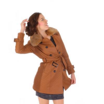Luxusní prošívaný hnědý kabát Celest - 1