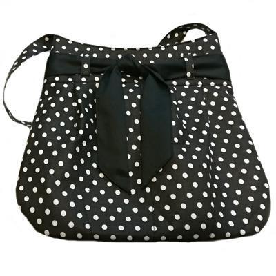 Černá plátěná kabelka Carmen s puntíky