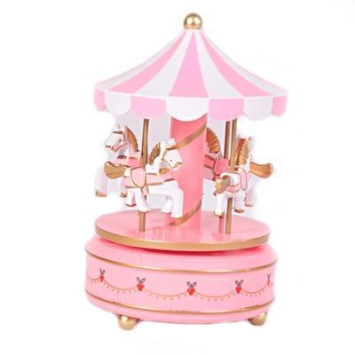Hrací skříňka kolotoč Stela růžový 19 cm
